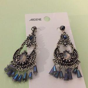 "Ardene earrings NEW 2"" blue and silver"